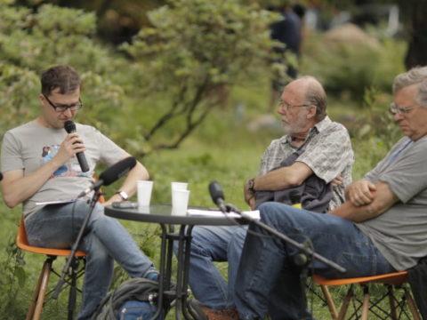 """Brian Olewnick """"AMM"""" – lecture, participants: Keith Rowe, Daniel Brożek Sanatorium Dźwięku 2016 fot. Tomek Ogrodowyczk"""